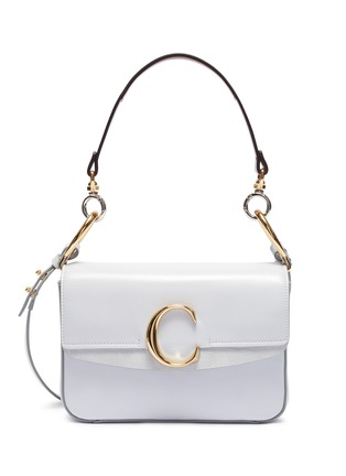 Main View - Click To Enlarge - CHLOÉ - 'Chloé C' suede panel small leather bag