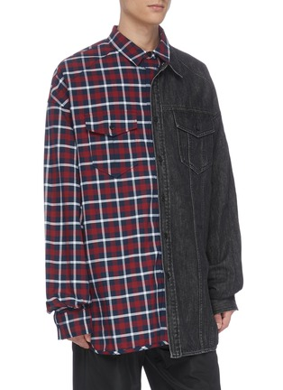 Front View - Click To Enlarge - JUUN.J - Denim panel check plaid shirt