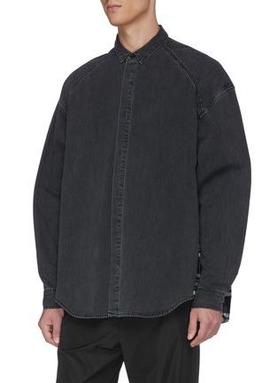 Front View - Click To Enlarge - JUUN.J - Tartan plaid panel raglan shirt