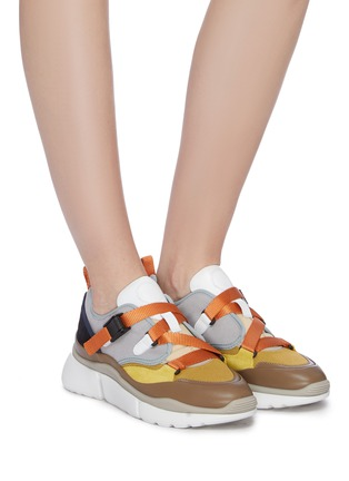 Figure View - Click To Enlarge - CHLOÉ - 'Sonnie' chunky outsole low top patchwork sneakers