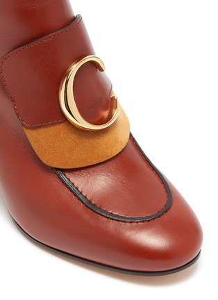 Detail View - Click To Enlarge - CHLOÉ - 'Chloé C' suede panel leather ankle boots