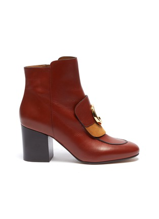 Main View - Click To Enlarge - CHLOÉ - 'Chloé C' suede panel leather ankle boots