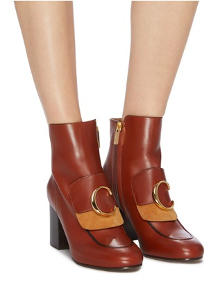 Figure View - Click To Enlarge - CHLOÉ - 'Chloé C' suede panel leather ankle boots