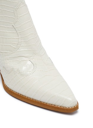 Detail View - Click To Enlarge - SAM EDELMAN - 'Winona' panelled croc embossed leather ankle boots
