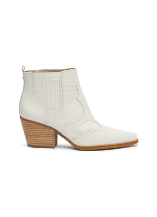 Main View - Click To Enlarge - SAM EDELMAN - 'Winona' panelled croc embossed leather ankle boots