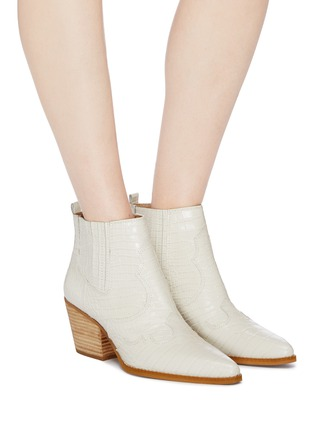 Figure View - Click To Enlarge - SAM EDELMAN - 'Winona' panelled croc embossed leather ankle boots
