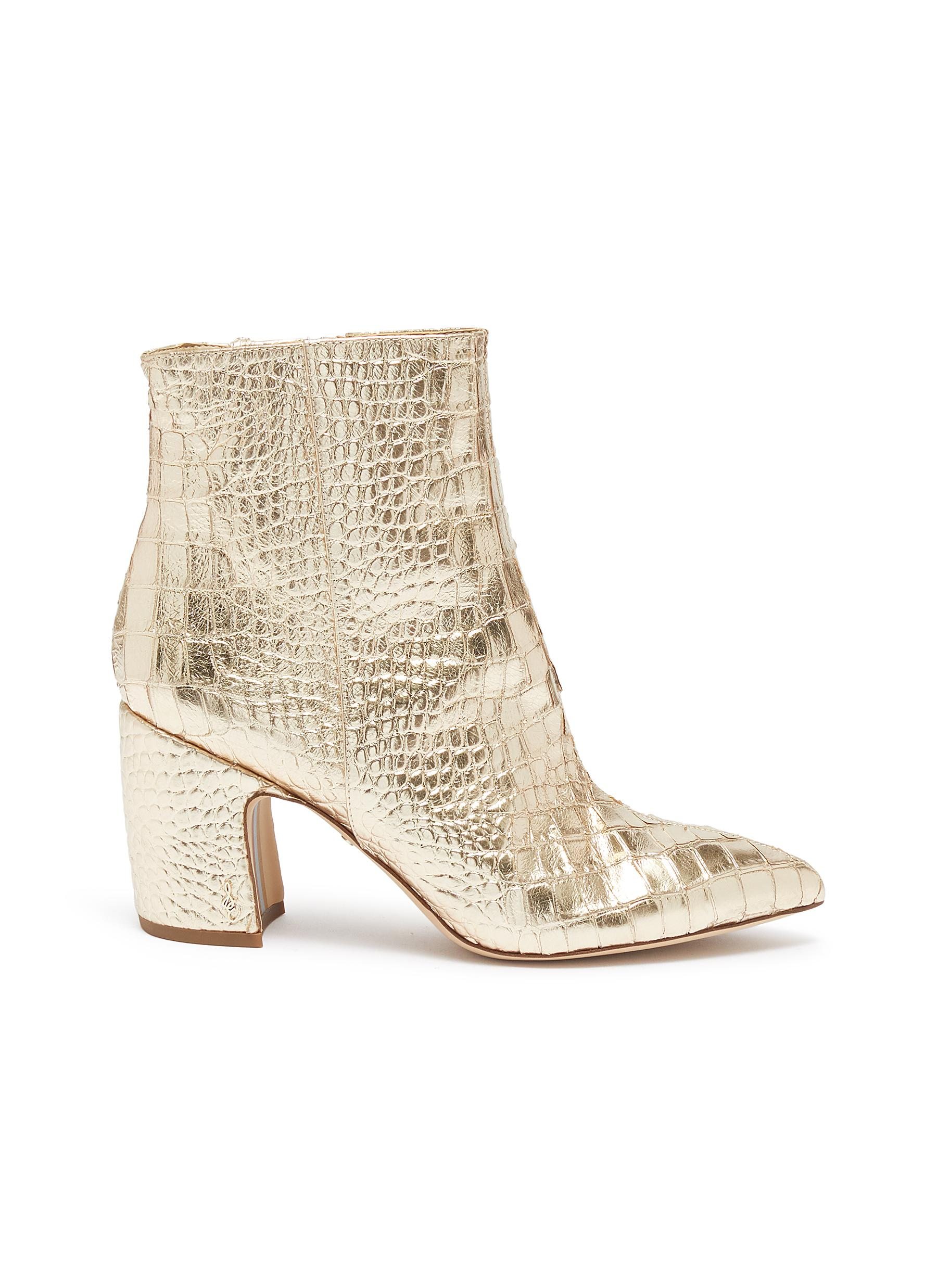 Hilty croc embossed mirror leather ankle boots by Sam Edelman