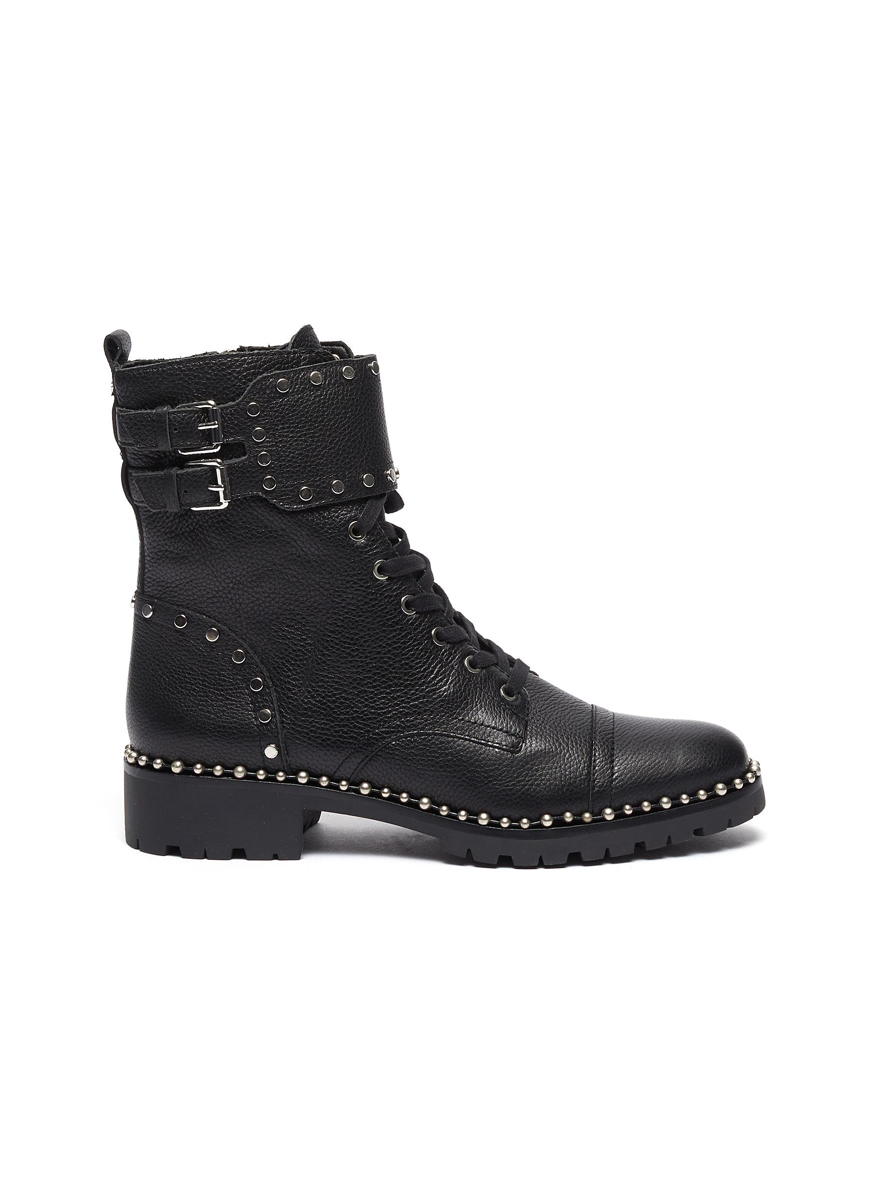 Jennifer buckled stud leather combat boots by Sam Edelman