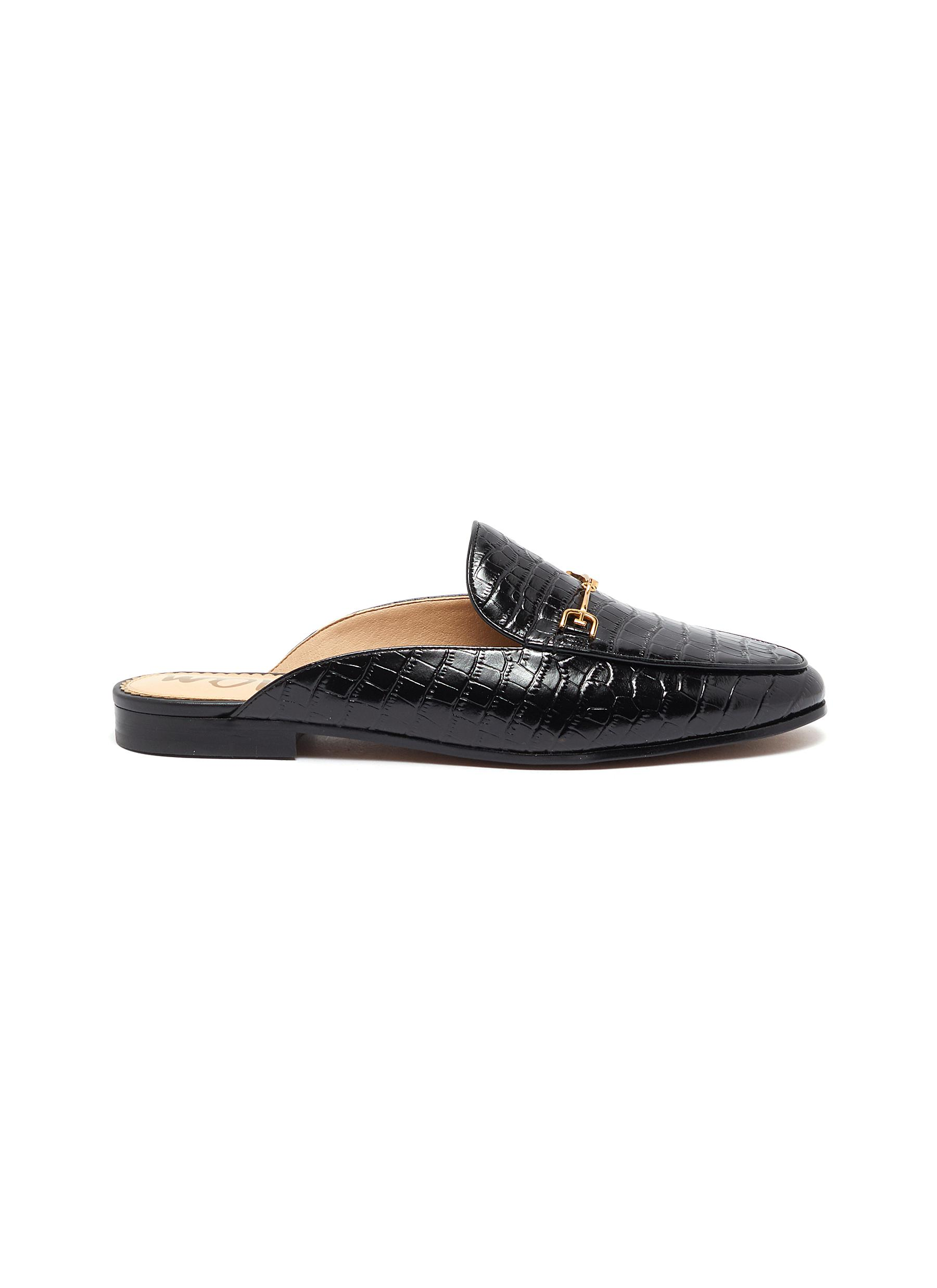 Linnie horsebit croc embossed leather loafer slides by Sam Edelman