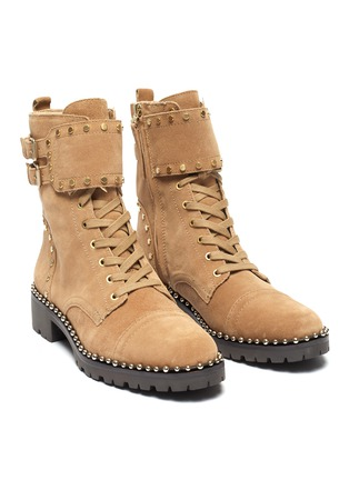 Detail View - Click To Enlarge - SAM EDELMAN - 'Jennifer' buckled stud suede combat boots