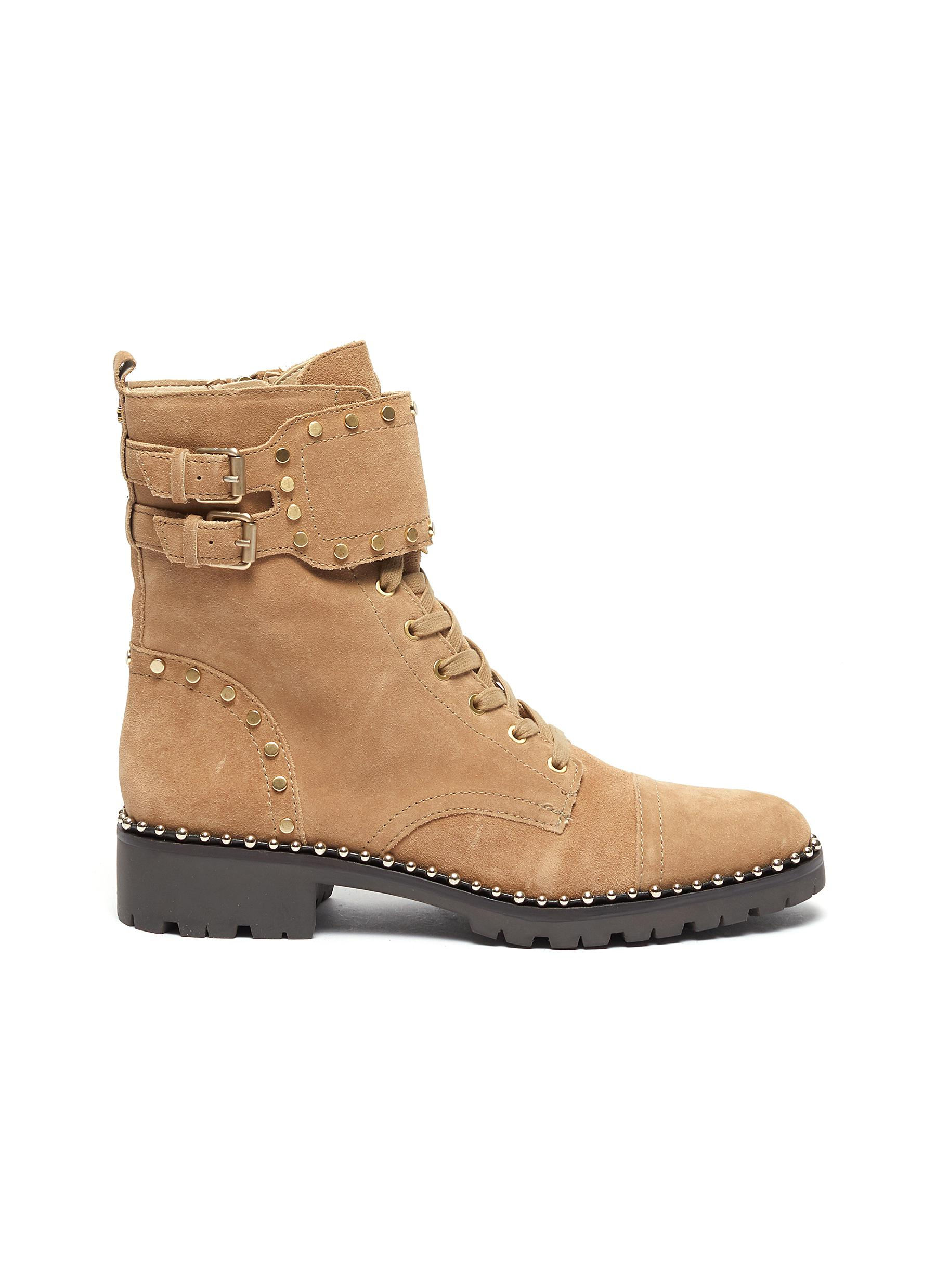 Jennifer buckled stud suede combat boots by Sam Edelman