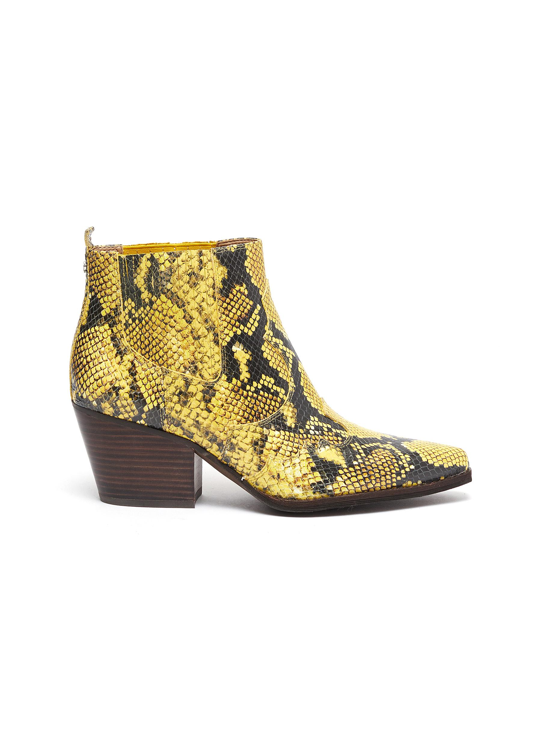 Winona panelled snake embossed leather ankle boots by Sam Edelman
