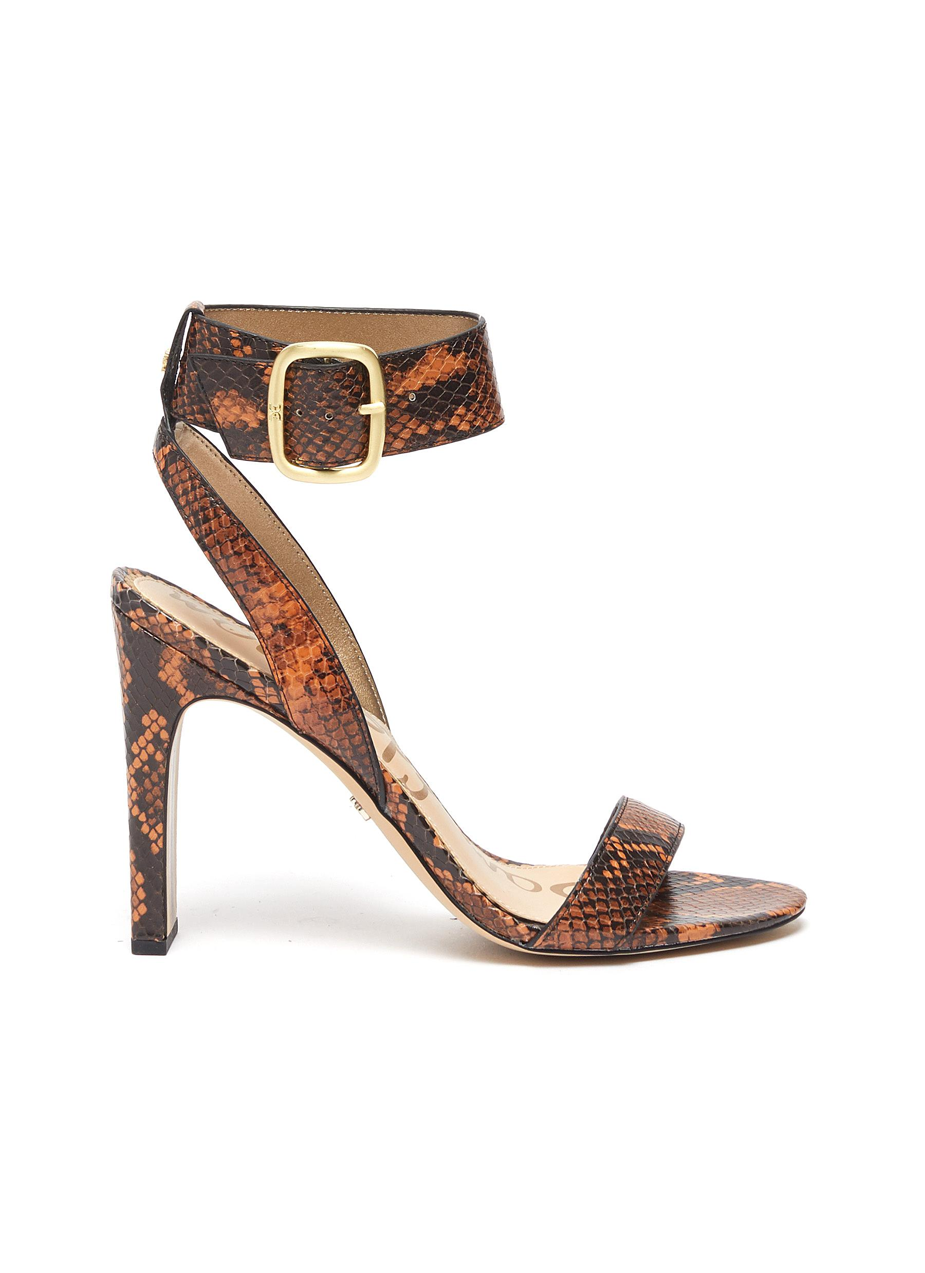 Yola ankle strap snake embossed leather sandals by Sam Edelman