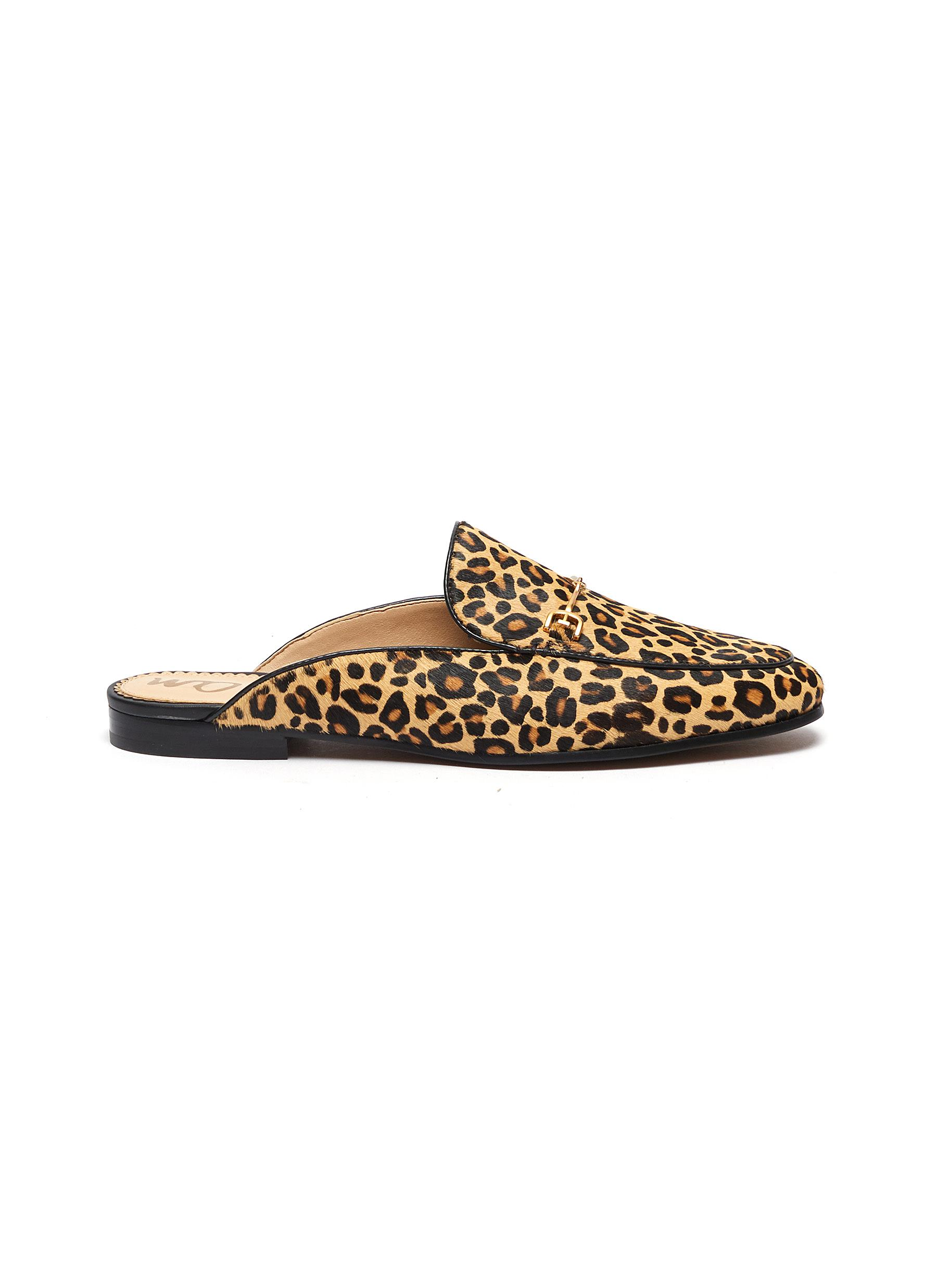 Linnie leopard print horsebit cow hair loafer slides by Sam Edelman