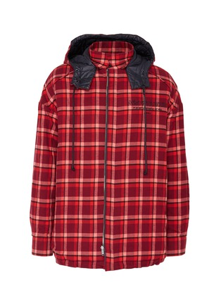Main View - Click To Enlarge - JUUN.J - Reversible detachable hood check plaid shirt jacket
