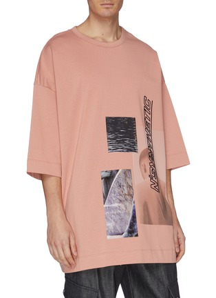 Front View - Click To Enlarge - JUUN.J - Slogan embroidered photographic print oversized T-shirt