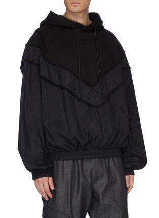 Front View - Click To Enlarge - JUUN.J - Contrast nylon panelled hoodie
