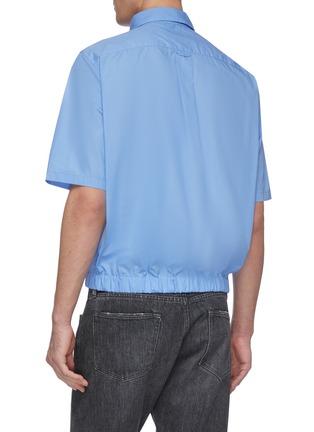 Back View - Click To Enlarge - MARTINE ROSE - Elastic hem short sleeve shirt