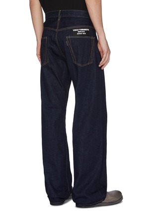 Back View - Click To Enlarge - YOHJI YAMAMOTO - Logo patch straight leg jeans