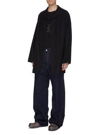 Figure View - Click To Enlarge - YOHJI YAMAMOTO - Logo patch straight leg jeans