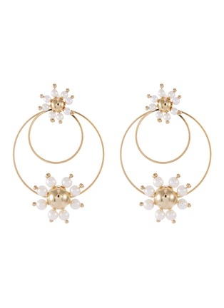 Main View - Click To Enlarge - ROSANTICA - 'Daisy' faux pearl double hoop earrings