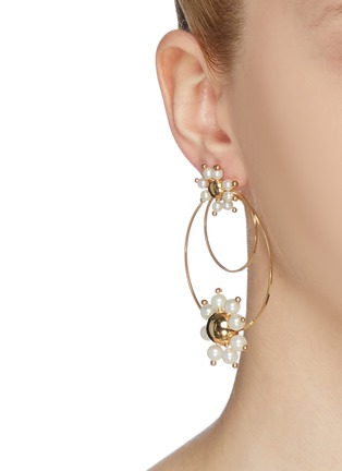 Figure View - Click To Enlarge - ROSANTICA - 'Daisy' faux pearl double hoop earrings