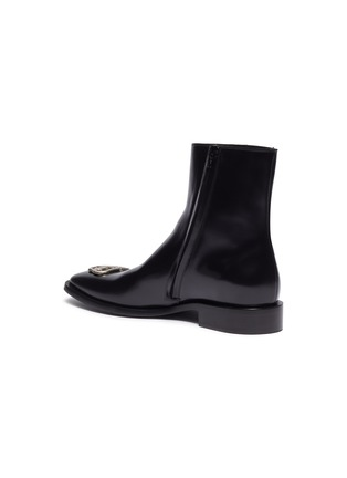 - BALENCIAGA - logo plaque leather ankle boots