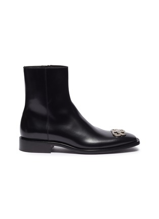 Main View - Click To Enlarge - BALENCIAGA - logo plaque leather ankle boots