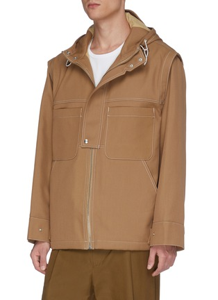 Front View - Click To Enlarge - JACQUEMUS - 'La veste Meunier' contrast topstitching hooded jacket