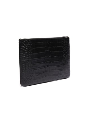 Detail View - Click To Enlarge - BALENCIAGA - 'Ville' logo print croc embossed leather pouch