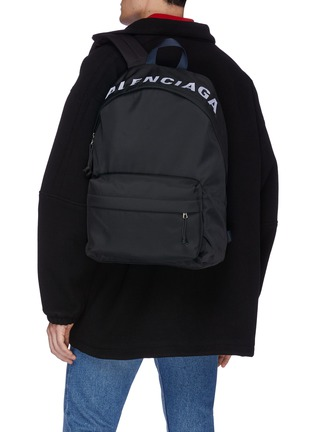 Front View - Click To Enlarge - BALENCIAGA - 'Wheel' logo embroidered backpack