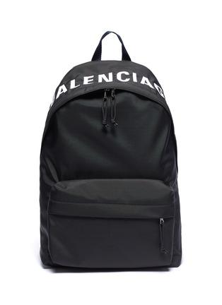 Main View - Click To Enlarge - BALENCIAGA - 'Wheel' logo embroidered backpack