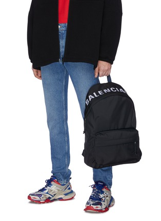 Figure View - Click To Enlarge - BALENCIAGA - 'Wheel' logo embroidered backpack