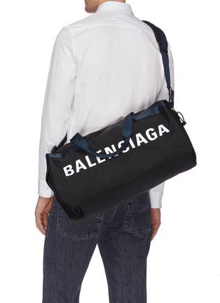Front View - Click To Enlarge - BALENCIAGA - 'Wheel' logo print gym bag