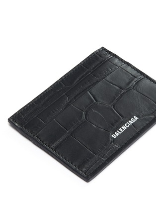 Detail View - Click To Enlarge - BALENCIAGA - Logo print croc embossed leather card holder