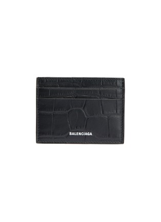 Main View - Click To Enlarge - BALENCIAGA - Logo print croc embossed leather card holder