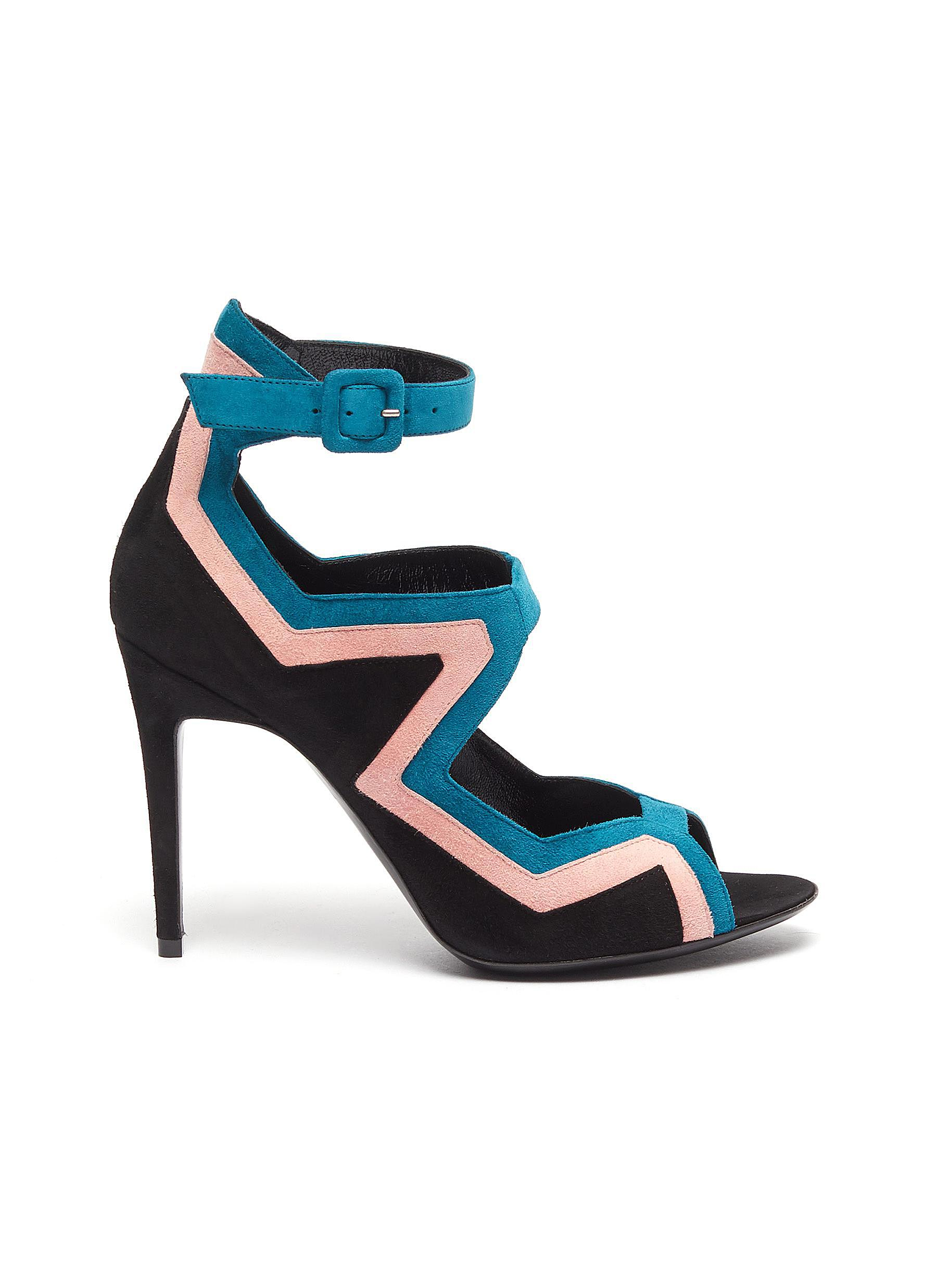 Vibe ankle strap colourblock geometric cutout suede sandals by Pierre Hardy