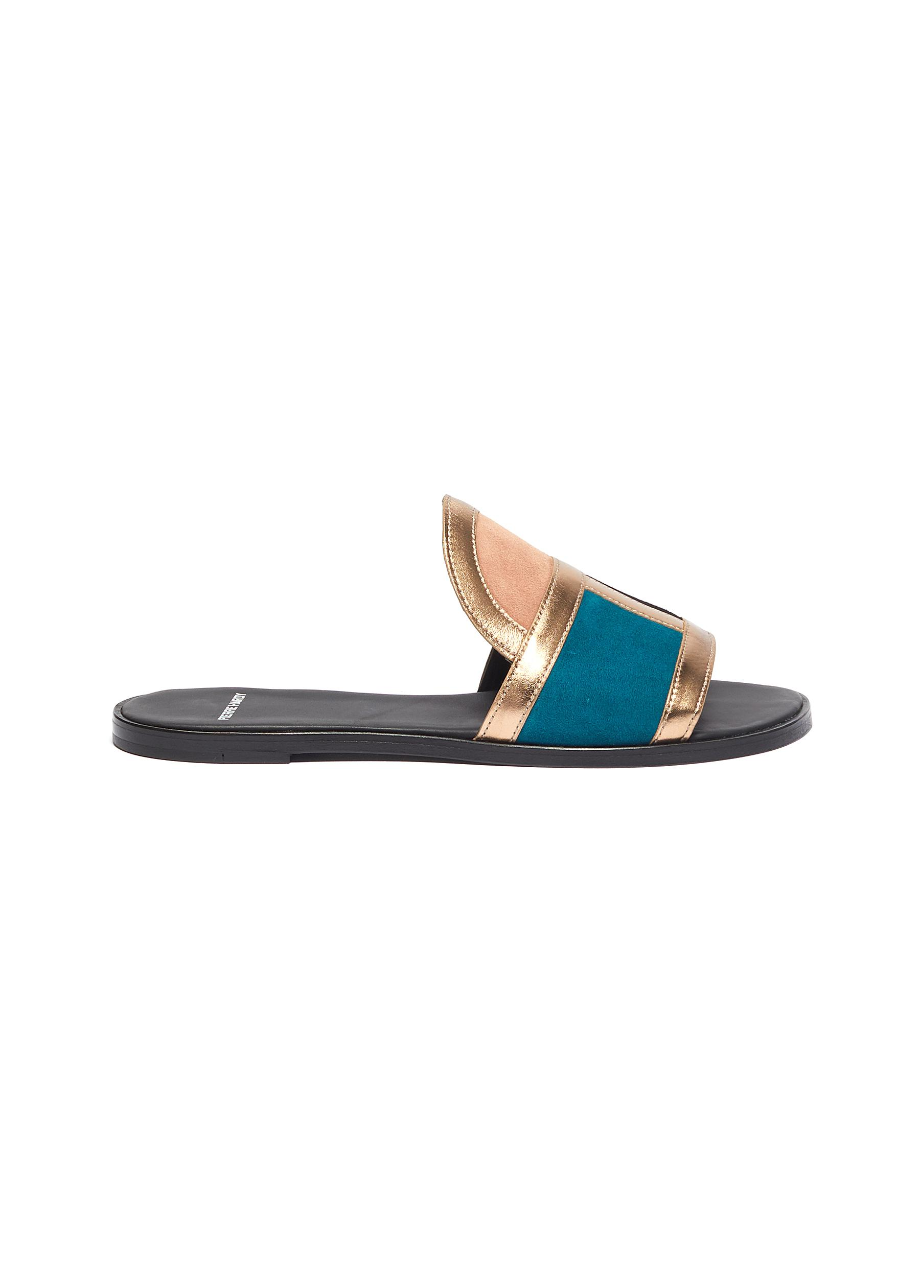 Frame suede patchwork slide sandals by Pierre Hardy