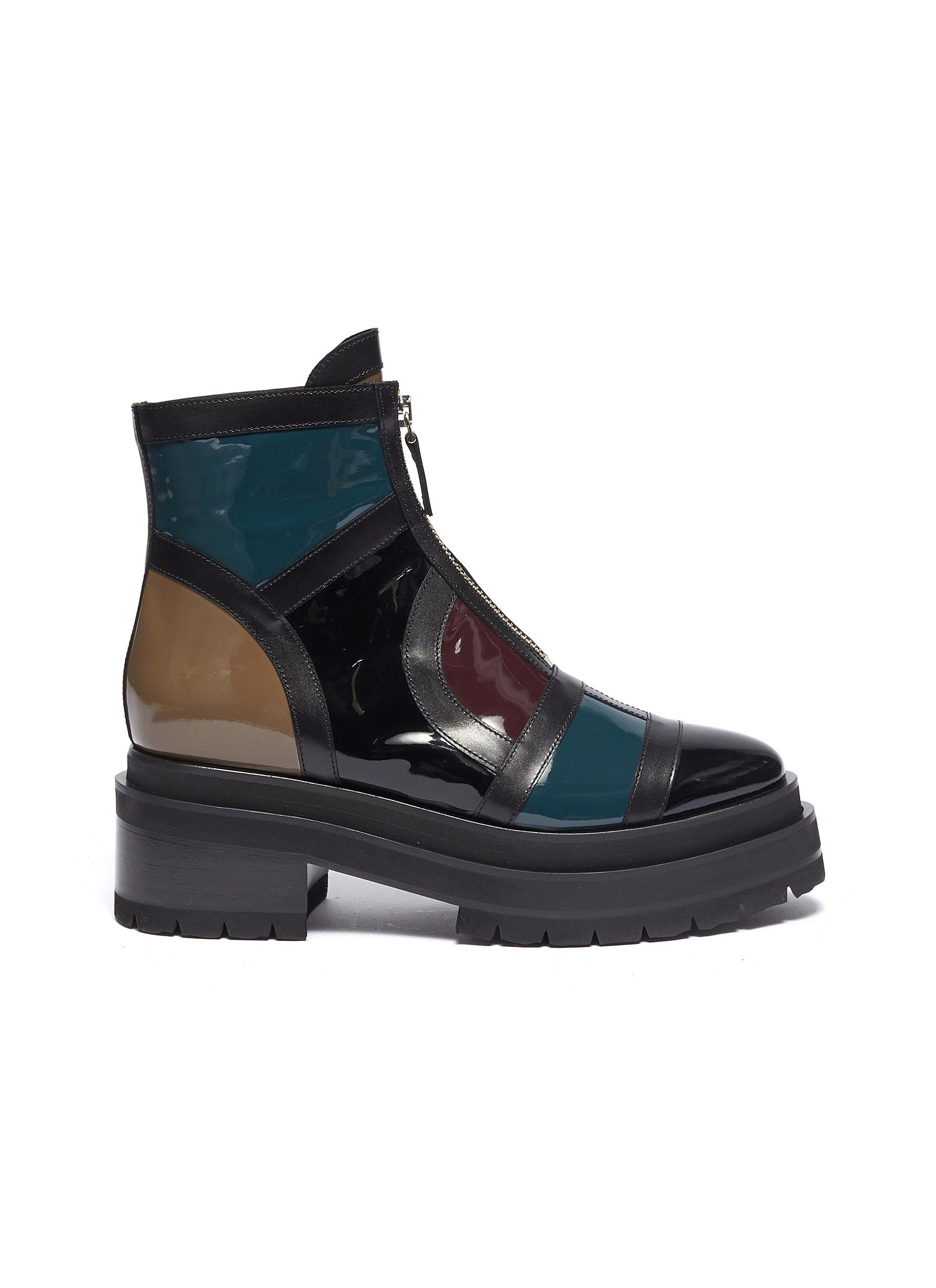 Frame patent leather patchwork combat boots by Pierre Hardy