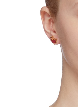Front View - Click To Enlarge - HEFANG - 'Dodo' cubic zirconia faux pearl detachable drop earrings