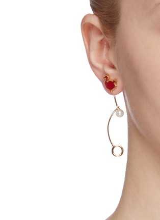 Figure View - Click To Enlarge - HEFANG - 'Dodo' cubic zirconia faux pearl detachable drop earrings