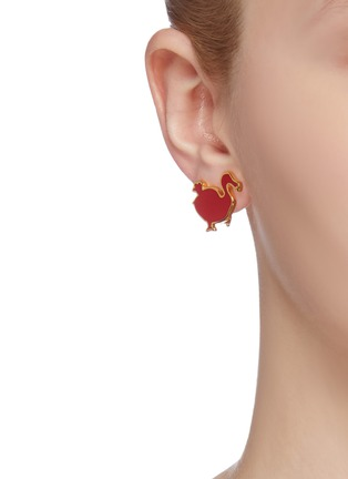 Figure View - Click To Enlarge - HEFANG - 'Dodo' enamelled clip earrings