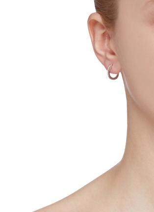 Front View - Click To Enlarge - HEFANG - 'Seahorse' cubic zirconia mini mismatched drop earrings