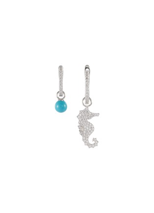 Main View - Click To Enlarge - HEFANG - 'Seahorse' cubic zirconia mini mismatched drop earrings