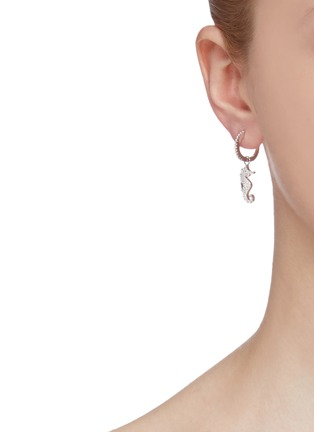 Figure View - Click To Enlarge - HEFANG - 'Seahorse' cubic zirconia mini mismatched drop earrings