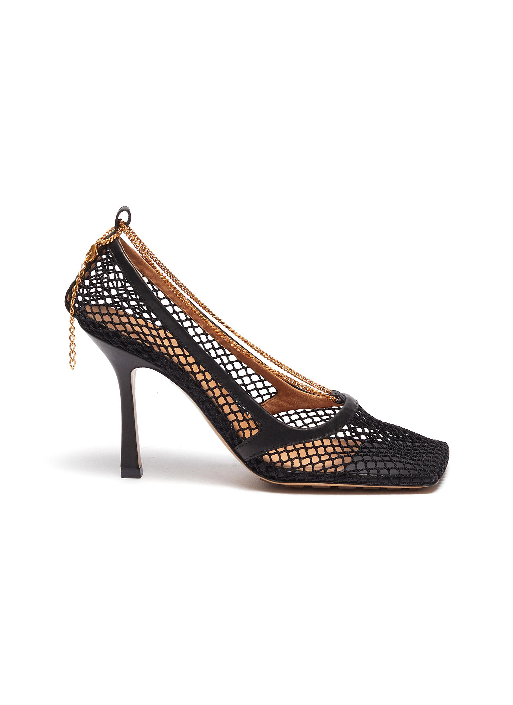 Bottega Veneta  Anklet leather trim fishnet pumps