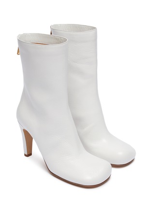 Detail View - Click To Enlarge - BOTTEGA VENETA - Square toe leather mid calf boots