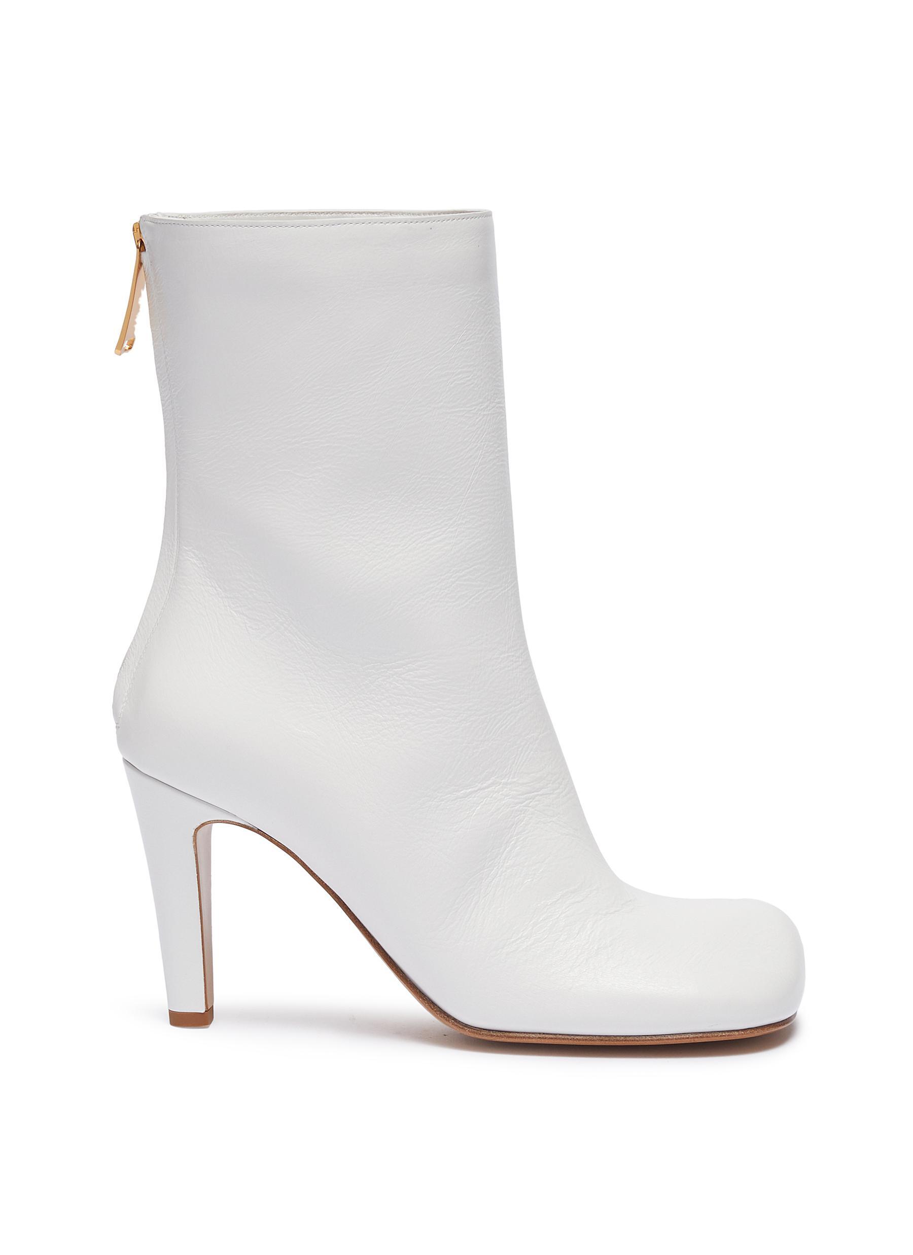 Square toe leather mid calf boots by Bottega Veneta
