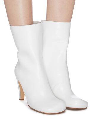 Figure View - Click To Enlarge - BOTTEGA VENETA - Square toe leather mid calf boots