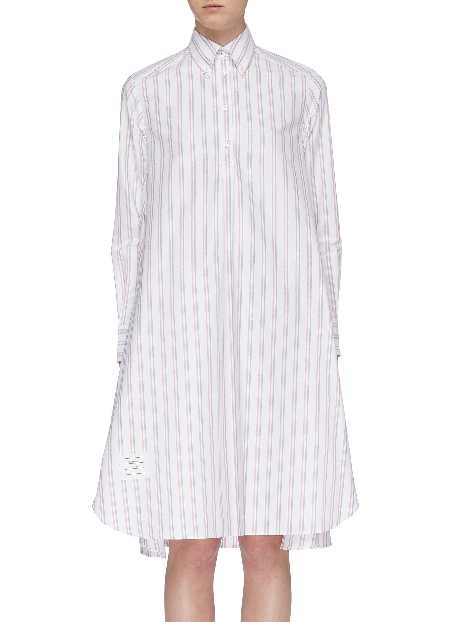 Half-button placket flared stripe Oxford shirt dress by Thom Browne